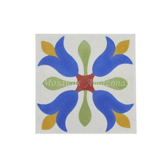 ladrilho floral azul
