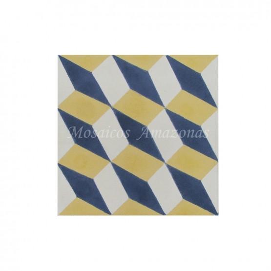 ladrilho geométrico amarelo e azul