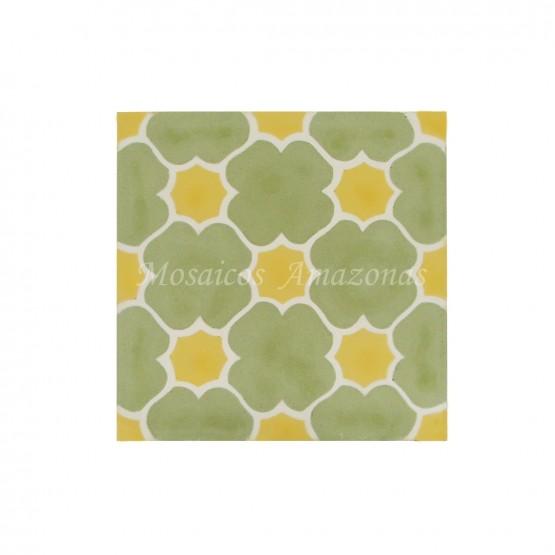ladrilho decorado verde e amarelo