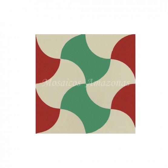 ladrilho hidráulico verde e vermelho