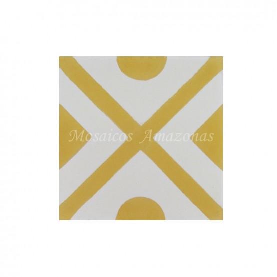 ladrilho hidráulico decorado amarelo