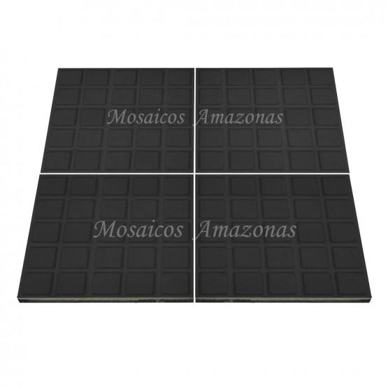 ladrilho hidráulico com 25 quadros preto tamanho 20x20