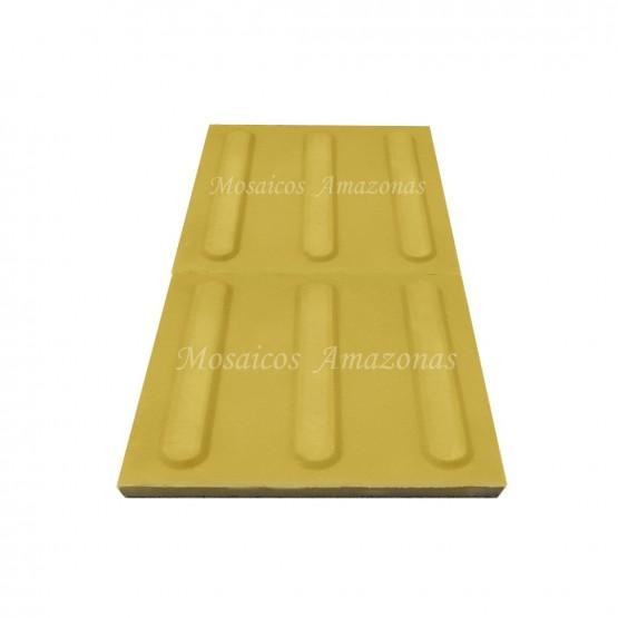 Piso tátil concreto direcional amarelo 25x25