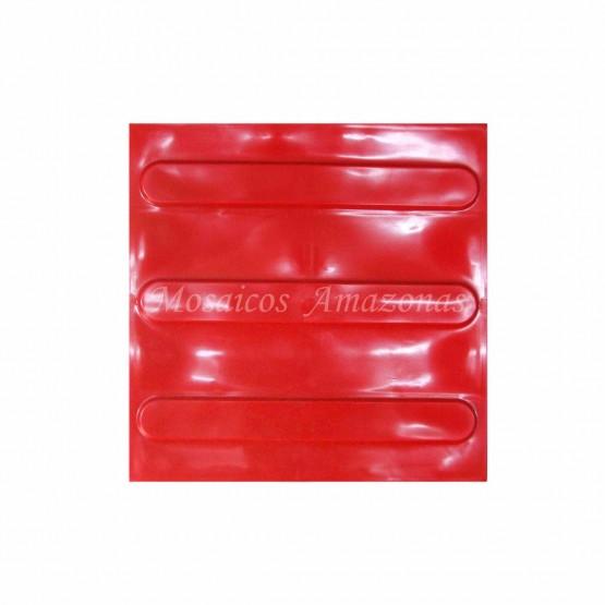 Piso tátil direcional vermelho 25x25 argamassado