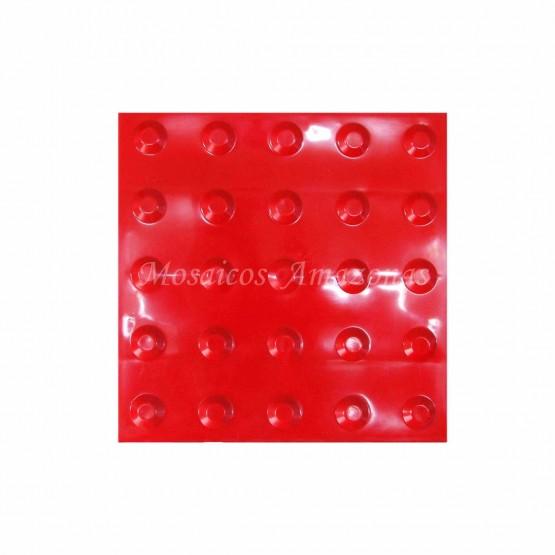 Piso tátil alerta vermelho 25x25 PVC argamassado