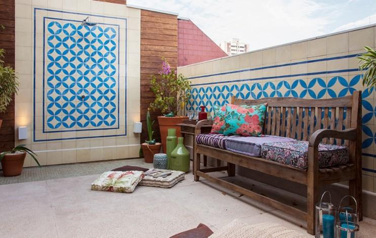 Ladrilho hidráulico para parede azul