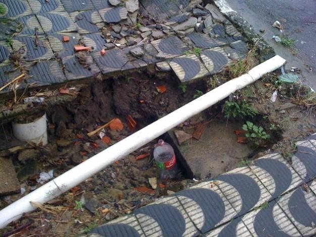 Calçada com buraco