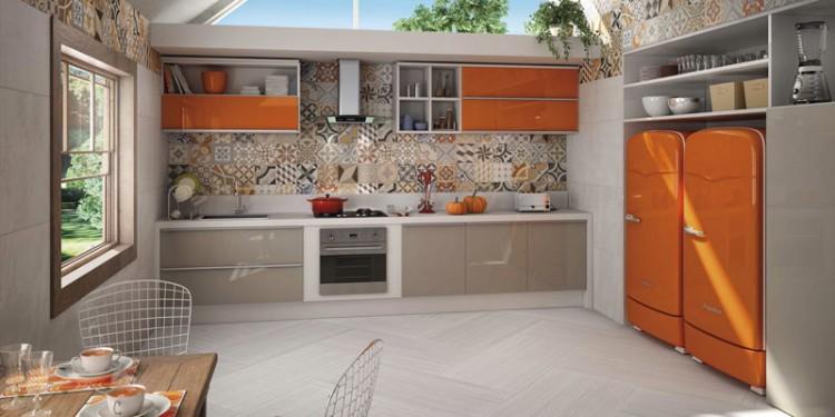 ladrilho hidráulico estampado em patchwork na cozinha